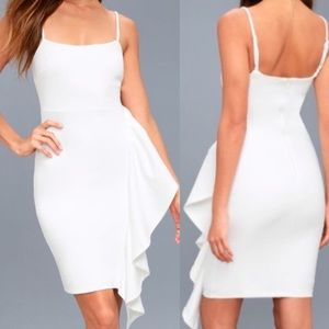 LULU's White Ruffle BodyCon Dress M